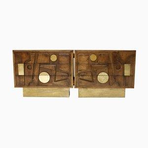 Italian Brutalist Brass and Oak Wood Sideboard from LA Studio