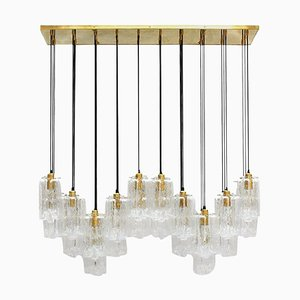 Modern Italian Murano Glass and Brass Suspension Lamp
