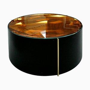 Italienischer Mid-Century Couchtisch aus Farbigem Glas Metall und Messing im Modernen Stil