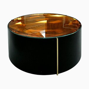 Mid-Century Italian Modern Style Colored Glass Metal and Brass Coffee Table