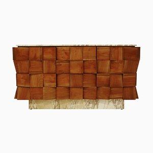 Mid-Century Italian Modern Style Siena Marble & Solid Birchwood Sideboard