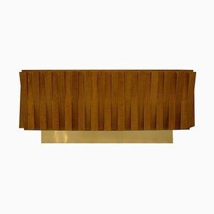 Mid-Century Modern Italian Faceted Oak & Brass Sideboard from LA Studio