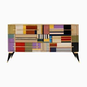 Mid-Century Modern Murano Glas & Messing Sideboard von LA Studio