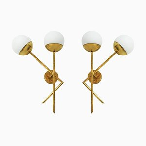 Italienische Mid-Century Modern Messing & Glas Wandlampen, 2er Set