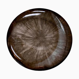 French Modern Sculptural Concave Brown Glass Mirror