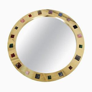 Modern Spanish Circular Brass Mirror with Semi Precious Stones