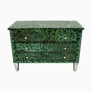 Mid-Century Italian Modern Solid Wood and Green Colored Glass Chest of Drawers