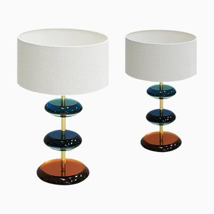 Mid-Century Italian Modern Style Murano Glass and Brass Table Lamps, Set of 2