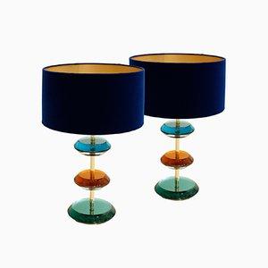 Italienische Mid-Century Modern Murano Glas und Messing Tischlampen, 2er Set