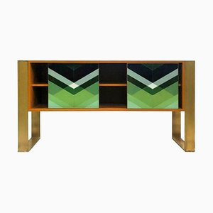 Mid-Century Italian Modern Style Colored Glass and Solid Wood Sideboard