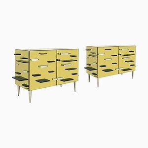 Italienischer goldener Murano Glasspiegel und Messingschränke, 2er-Set