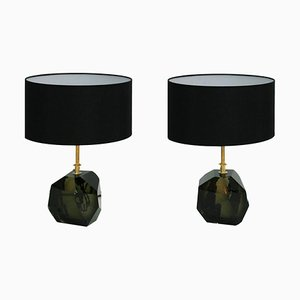 Murano and Brass Italian Table Lamps, Set of 2