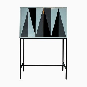 Mid Century Italian Solid Wood and Colored Glass Cabinet from L.A. Studio