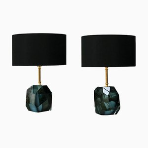 Italian Murano Glass and Brass Table Lamps, Set of 2