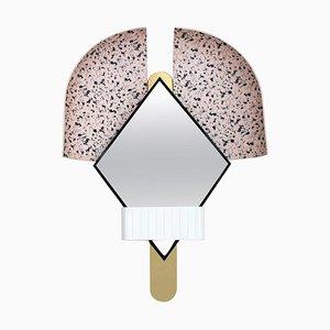 Italian Pink Bonnet Mirror in Gold Metal by Elena Salmistraro