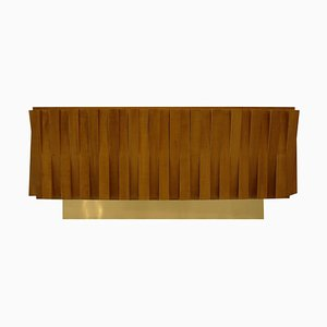 Mid Century Italian Faceted Oakwood and Brass Sideboard by L.A. Studio
