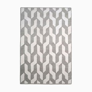 Rectangular Grey and White Wool Cable Neutral Rug