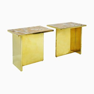 Perplex and Brass Coffee Tables, Set of 2