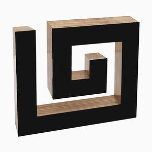 Josecho López Llorens, Geometric Black Lacquered Pinewood Sculpture