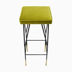 Italian Mid Century Square Black Lacquered Iron and Lime Cotton Velvet Stool