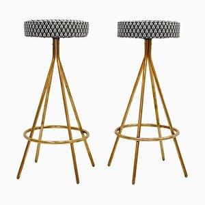 Circular Italian Bar Stools Upholstered in Dedar Fabric, Set of 2