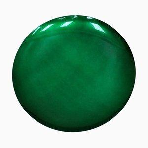 French Modern Artisanal Sculptural Handmade Concave Green Glass Mirror