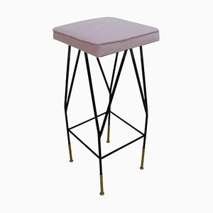 Pink Cotton Velvet and Black Lacquered Metal Italian Stool