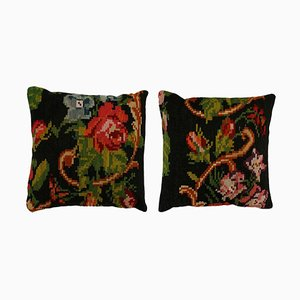 Mid Century Spanish Square Pattern Wool Scatter Cushions, Set of 2