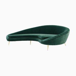 Curved Green Cotton Velvet and Brass Italian Sofa in the Style of Ico Parisi