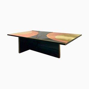 Mid Century Italian Colored Glass Brass Bronze Coffee Table