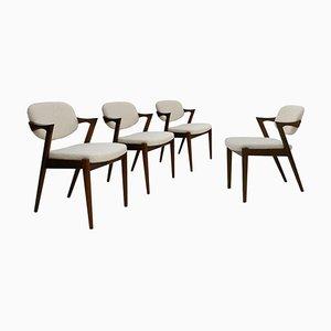Mid Century Danish Walnut Chairs, Set of 4