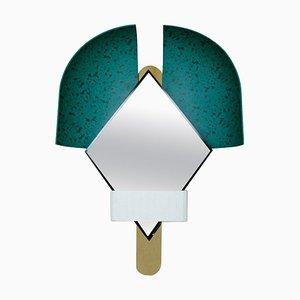 Italian Green Bonnet Mirror by Elena Salmistraro