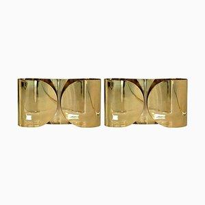 Mid-Century Foglio Italian Brass Sconce by Tobia Scarpa, Set of 2