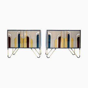 Mid-Century Italian Solid Wood and Colored Glass Sideboards, Set of 2