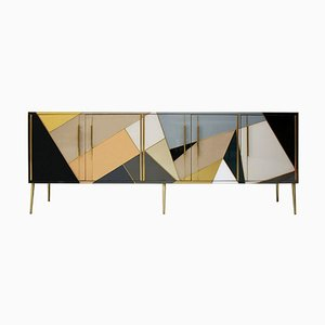 Mid-Century Solid Wood and Colored Glass Italian Sideboard