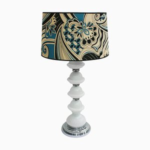 Mid-Century Murano and Metal Italian Table Lamp