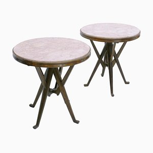 Ashwood Italian Pedestal Tables in the Style of Carlo Mollino, Set of 2