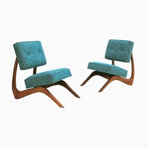 Mid-Century Walnut American Lounge Chairs by Adrian Pearsall, Set of 2