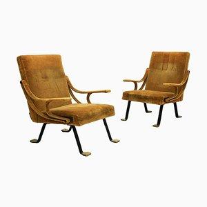 Mid-Century Model Digamma Italian Armchairs by Ignazio Gardella, Set of 2