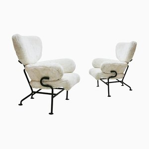 PL19 Synthetic Leather Italian Armchairs by Franco Albini for Poggi Pavia, Set of 2