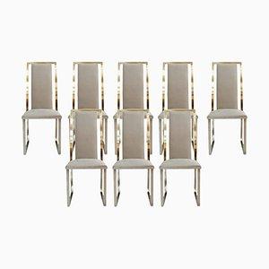 Französische Mid-Century Stühle aus Stahl & Messing von Michel Mangematin, 8er Set