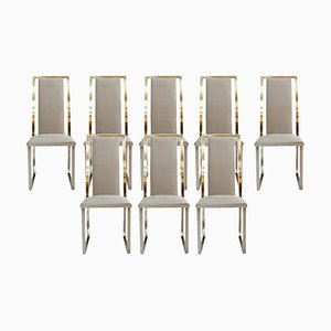 Mid-Century Steel and Brass French Chairs by Michel Mangematin, Set of 8