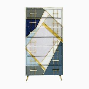 Mid-Century Murano Glass and Brass Italian Commode