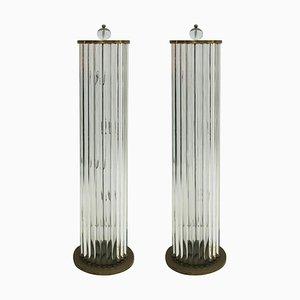 Italienische Lampen aus Muranoglas und Messing, 1970er Jahre, 2er-Set