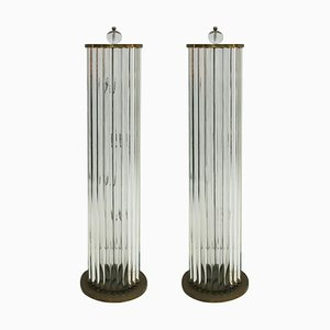 Murano Glass and Brass Italian Lamps, 1970s, Set of 2