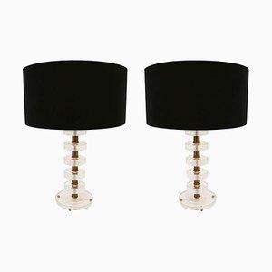 Mid-Century Murano Glass Italian Lamps, Set of 2