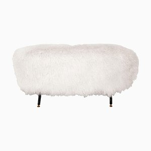 Mid-Century White Mongolian Goat Fur, Wood and Metal Italian Footstool
