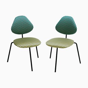 Mid-Century Black Lacquered Metal Cotton Satin Italian Chairs by Isa Beramo, Set of 2