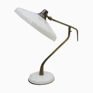 Weiße italienische Mid-Century Modern Tischlampe aus Stahl & Messing von Oscar Torlasco