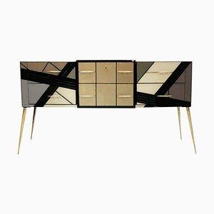 Italienisches Sideboard aus Massivholz und farbigem Glas aus der Mitte des Jahrhunderts